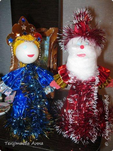 """Такие игрушки мы с детьми делами на занитиях кружка """" Магия бумаги"""".   Это Дед Мороз и Снегурочка. фото 1"""