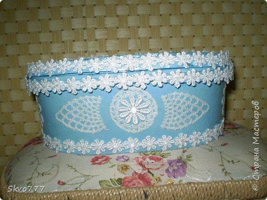 Шкатулка из картона. Декор фрагментами из салфетки,бантики из макаронных изделий фото 3