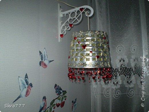 Светильник своими руками из пластиковой банки. Покрыта сеткой,декор - тесьма фото 3