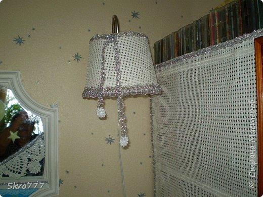 Светильник своими руками из пластиковой банки. Покрыта сеткой,декор - тесьма фото 1