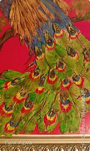"""Изображение птицы нарисовали на бумаге и приклеили на цветной картон. Разукрашивали гуашью.  Для крыльев и хвоста использованы кленовые """"сережки"""". фото 2"""
