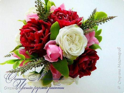 """.Цветочная композиция """"Утро парижанки"""".В композицию входят пионы цвета марсала,нежнейшая розовая магнолия и благородная староанглийская роза.Композиция довольно крупная,пышная. фото 4"""