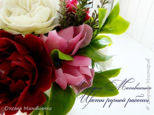 """.Цветочная композиция """"Утро парижанки"""".В композицию входят пионы цвета марсала,нежнейшая розовая магнолия и благородная староанглийская роза.Композиция довольно крупная,пышная. фото 5"""