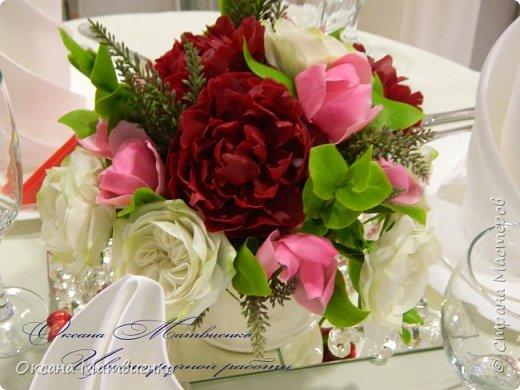 """.Цветочная композиция """"Утро парижанки"""".В композицию входят пионы цвета марсала,нежнейшая розовая магнолия и благородная староанглийская роза.Композиция довольно крупная,пышная. фото 1"""