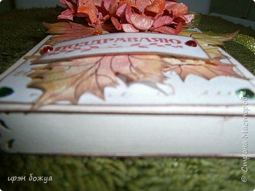 Сегодня я с шоколадницей.Вдохновитель тут http://stranamasterov.ru/node/1057689?c=favorite . Верх открытки сделан без применения фигурных дыроколов.Шаблоны листочков взяла в интернете: клен-3-х видов+самодельные цветы из бумаги для рисования. Штампик -поздравление,стразы, деревянная пуговица. фото 4