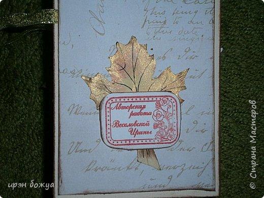 Сегодня я с шоколадницей.Вдохновитель тут http://stranamasterov.ru/node/1057689?c=favorite . Верх открытки сделан без применения фигурных дыроколов.Шаблоны листочков взяла в интернете: клен-3-х видов+самодельные цветы из бумаги для рисования. Штампик -поздравление,стразы, деревянная пуговица. фото 9