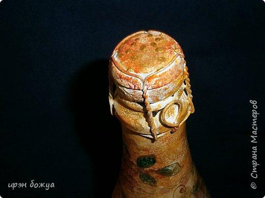 """В продолжении шоколадницы """"Осенняя"""" сделана в комплект бутылочка напитка задекорированная под осень(слева). Справа стоит моя более ранняя работа,но осенняя бутылочка делалась по этому образу. фото 8"""