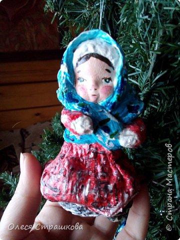 Андрейка и Марусенька. Елочных игрушки из ватного папье-маше  на каркасе. фото 7