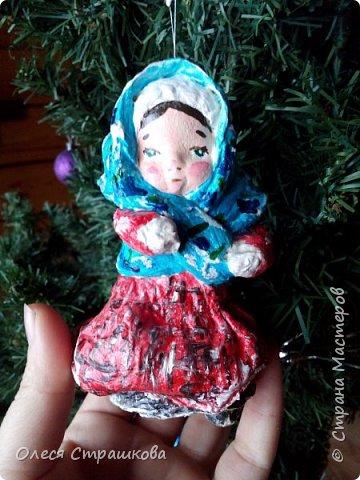 Андрейка и Марусенька. Елочных игрушки из ватного папье-маше  на каркасе. фото 6