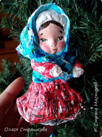 Андрейка и Марусенька. Елочных игрушки из ватного папье-маше  на каркасе. фото 4