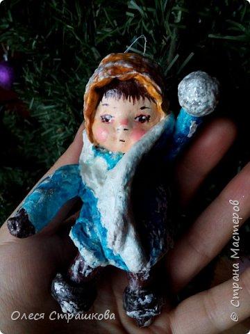 Андрейка и Марусенька. Елочных игрушки из ватного папье-маше  на каркасе. фото 1