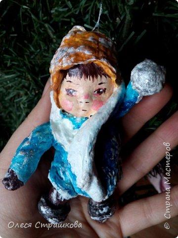 Андрейка и Марусенька. Елочных игрушки из ватного папье-маше  на каркасе. фото 2