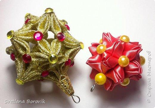 Новогодние шары канзаши из атласных лент своими руками. Елочныи грушки. Christmas Toy. Christmas ball kanzashi