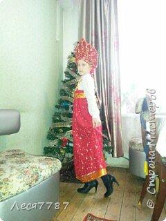Русская красавица-кокошник из подручных материалов и сарафан из маминой юбки. фото 2