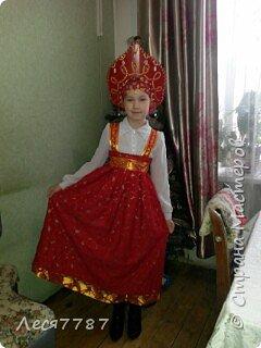 Русская красавица-кокошник из подручных материалов и сарафан из маминой юбки. фото 1