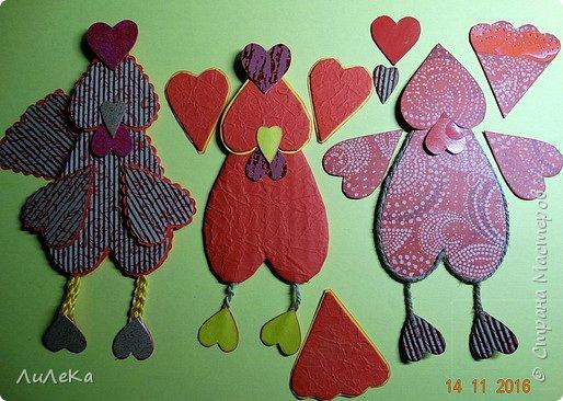 Я к вам с новогодними петушками. С сердечными! Все детали петушков в форме сердца. фото 14