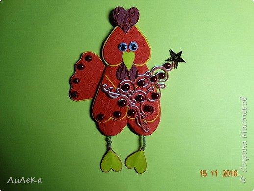Я к вам с новогодними петушками. С сердечными! Все детали петушков в форме сердца. фото 19