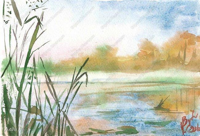"""Доброе время суток, уважаемые обитатели СМ!  Давно не появлялась здесь, и столько всего накопилось, чтобы показать...  Вот, например, зарисовка акварелью  """"Морозно и ясно"""". Утро, осень, река, первый мороз... фото 1"""