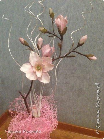 Вот такая веточка Магнолии,  сделанная  из фоамирана украшает журнальный столик. Кажется, что не хватает еще одного цветка, внизу, где пустой пенек. Так оставить или еще чем-то дополнить? Посоветуйте, пжл. фото 1