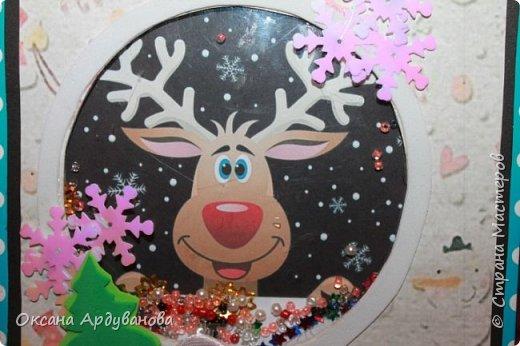 """Открыточка -шейкер. Выполнена на конкурс """"Рождественская сказка"""",Вот такой забавный олень заглядывает в окошко!!!В этом деле я только учусь.так что не судите строго. фото 2"""