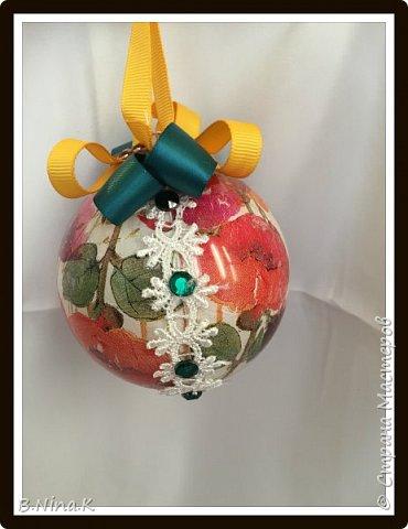 Приветствую всех жителей Страны Мастеров! Сделала новые шары и топиарий.  Пластиковый разъемный шар, обратный декупаж салфеткой, кружево и лента для бантов. фото 7