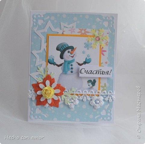 Вот такие зимние открыточки у меня появились в этом году.  Они небольшого формата, примерно 9,5х12 см. Приятного просмотра! фото 8