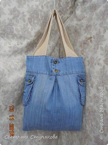 Очень люблю джинсу . Вот и появились следующие две сумки-сестрички. Вид спереди - всё строго и лаконично. фото 12