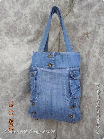 Очень люблю джинсу . Вот и появились следующие две сумки-сестрички. Вид спереди - всё строго и лаконично. фото 13