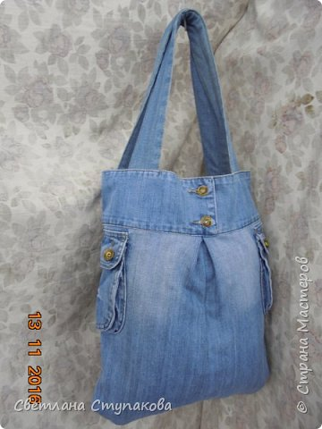 Очень люблю джинсу . Вот и появились следующие две сумки-сестрички. Вид спереди - всё строго и лаконично. фото 14