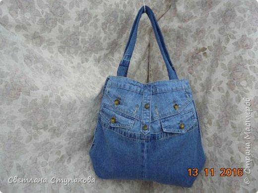 Очень люблю джинсу . Вот и появились следующие две сумки-сестрички. Вид спереди - всё строго и лаконично. фото 16