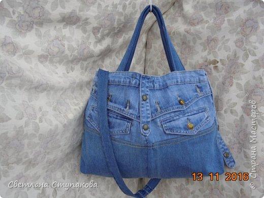 Очень люблю джинсу . Вот и появились следующие две сумки-сестрички. Вид спереди - всё строго и лаконично. фото 18
