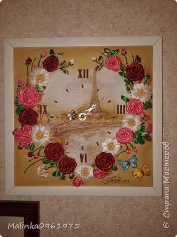 Часы вышитые лентами фото 1