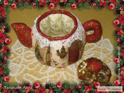 Текстильные чайники из натуральных тканей. Замечательный оригинальный подарочек к Новому Году. Высота 15см. фото 6