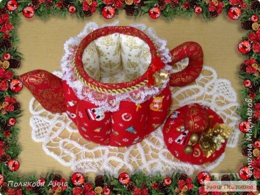 Текстильные чайники из натуральных тканей. Замечательный оригинальный подарочек к Новому Году. Высота 15см. фото 3