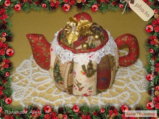 Текстильные чайники из натуральных тканей. Замечательный оригинальный подарочек к Новому Году. Высота 15см. фото 5