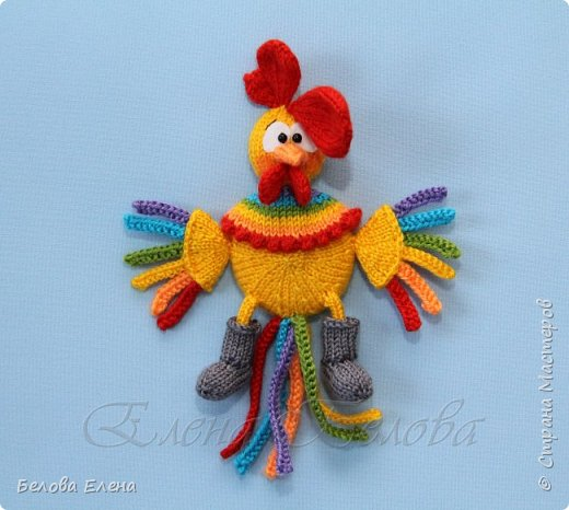 """Магниты """"Куриная семейка"""" (крючок) Петушок – 18 см (в длину) Курочка – 13 см (в длину) Цыплята – 6 см. Пряжа акрил (300м/100г), крючок №1,25 фото 7"""