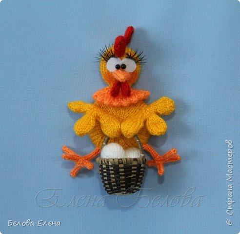 """Магниты """"Куриная семейка"""" (крючок) Петушок – 18 см (в длину) Курочка – 13 см (в длину) Цыплята – 6 см. Пряжа акрил (300м/100г), крючок №1,25 фото 8"""