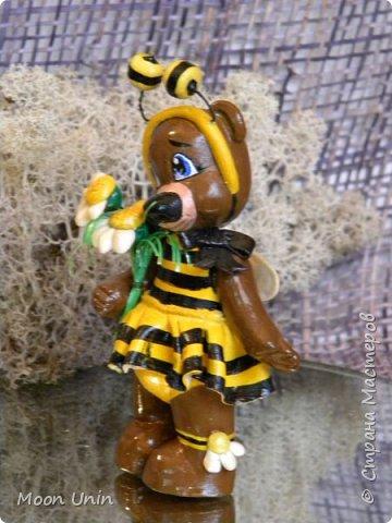 С черной кнопкой на носу Этот зверь живет в лесу, Весь лохматый, цветом бурый, На лицо немного хмурый.  У него кривые лапы, Неуклюжий, косолапый. Любит кушать сладкий мед, Этот мед у пчел крадет.  По деревьям лазит ловко, Есть хорошая сноровка, Может сильно он реветь, А зовут его... Медведь!  Чурилов А. Всем привет!) Знакомьтесь с моей косолапенькой красавицей, наряженной пчелкой)  фото 7