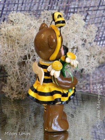 С черной кнопкой на носу Этот зверь живет в лесу, Весь лохматый, цветом бурый, На лицо немного хмурый.  У него кривые лапы, Неуклюжий, косолапый. Любит кушать сладкий мед, Этот мед у пчел крадет.  По деревьям лазит ловко, Есть хорошая сноровка, Может сильно он реветь, А зовут его... Медведь!  Чурилов А. Всем привет!) Знакомьтесь с моей косолапенькой красавицей, наряженной пчелкой)  фото 9