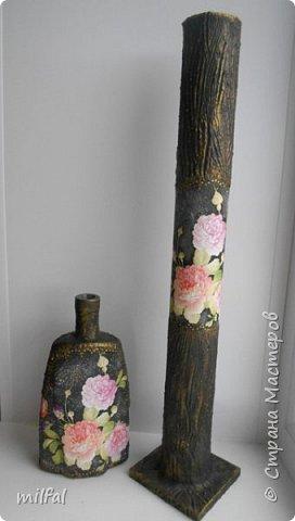 """Полюбившиеся вазы из картонных труб. Набор """"розы"""" Мат-лы: салфетка,бутылка,картонная труба,гипс со шпаклёвкой,краски,акр.лак. фото 1"""
