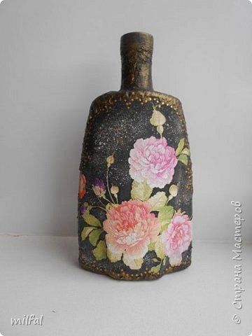 """Полюбившиеся вазы из картонных труб. Набор """"розы"""" Мат-лы: салфетка,бутылка,картонная труба,гипс со шпаклёвкой,краски,акр.лак. фото 6"""