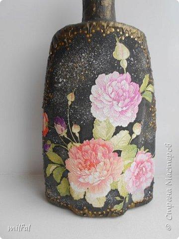 """Полюбившиеся вазы из картонных труб. Набор """"розы"""" Мат-лы: салфетка,бутылка,картонная труба,гипс со шпаклёвкой,краски,акр.лак. фото 8"""