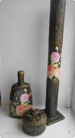 """Полюбившиеся вазы из картонных труб. Набор """"розы"""" Мат-лы: салфетка,бутылка,картонная труба,гипс со шпаклёвкой,краски,акр.лак. фото 9"""