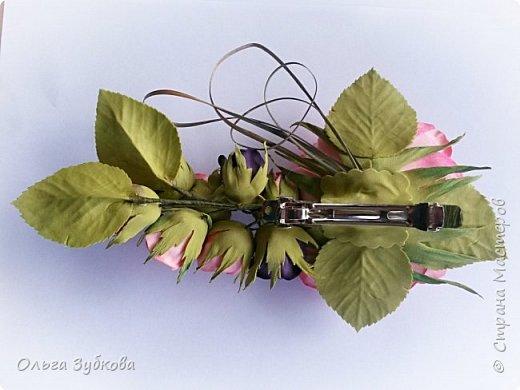 Вот еще вдохновение посетило)) Сделала заколку-автомат с розами, подарю маме)) фото 3