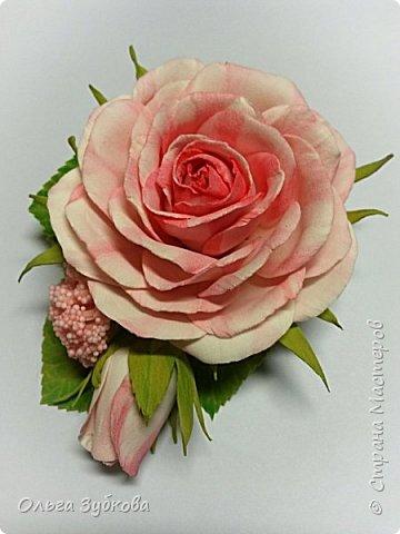 Вот еще вдохновение посетило)) Сделала заколку-автомат с розами, подарю маме)) фото 4