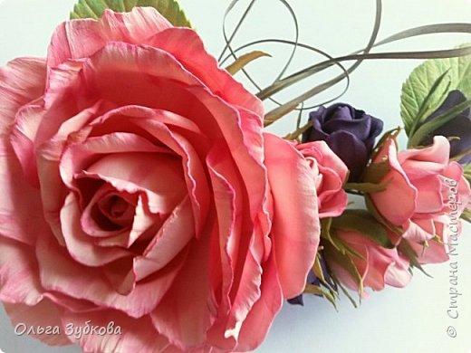 Вот еще вдохновение посетило)) Сделала заколку-автомат с розами, подарю маме)) фото 2