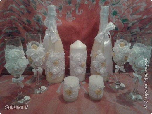 Свадебный набор. Шампанское, фужеры, свечи