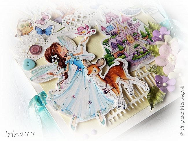 Здравствуйте , мои   дорогие!  Моей Софийке 17 ноября исполнилось 6 лет. Решила  сделать открыточку. Получился такой вот замок для принцессы, внутри с  кармашками для всякой  мелочи ( ну а мы туда  денежку положили!) Восторга было столько...Так приятно! фото 6