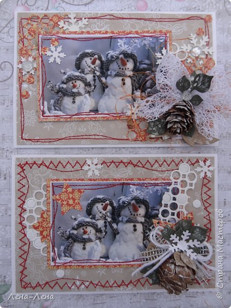 """Ещё в прошлом году начала делать открыточки с этими милыми снеговичками, да что-то замоталась, и они так и остались в недоделках...Сейчас их """"реанимировала"""", к Новому году успевают! Уже настрочила, так настрочила - чего зазря машинку швейную настраивать!)) фото 1"""