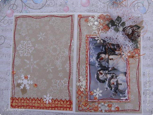 """Ещё в прошлом году начала делать открыточки с этими милыми снеговичками, да что-то замоталась, и они так и остались в недоделках...Сейчас их """"реанимировала"""", к Новому году успевают! Уже настрочила, так настрочила - чего зазря машинку швейную настраивать!)) фото 4"""